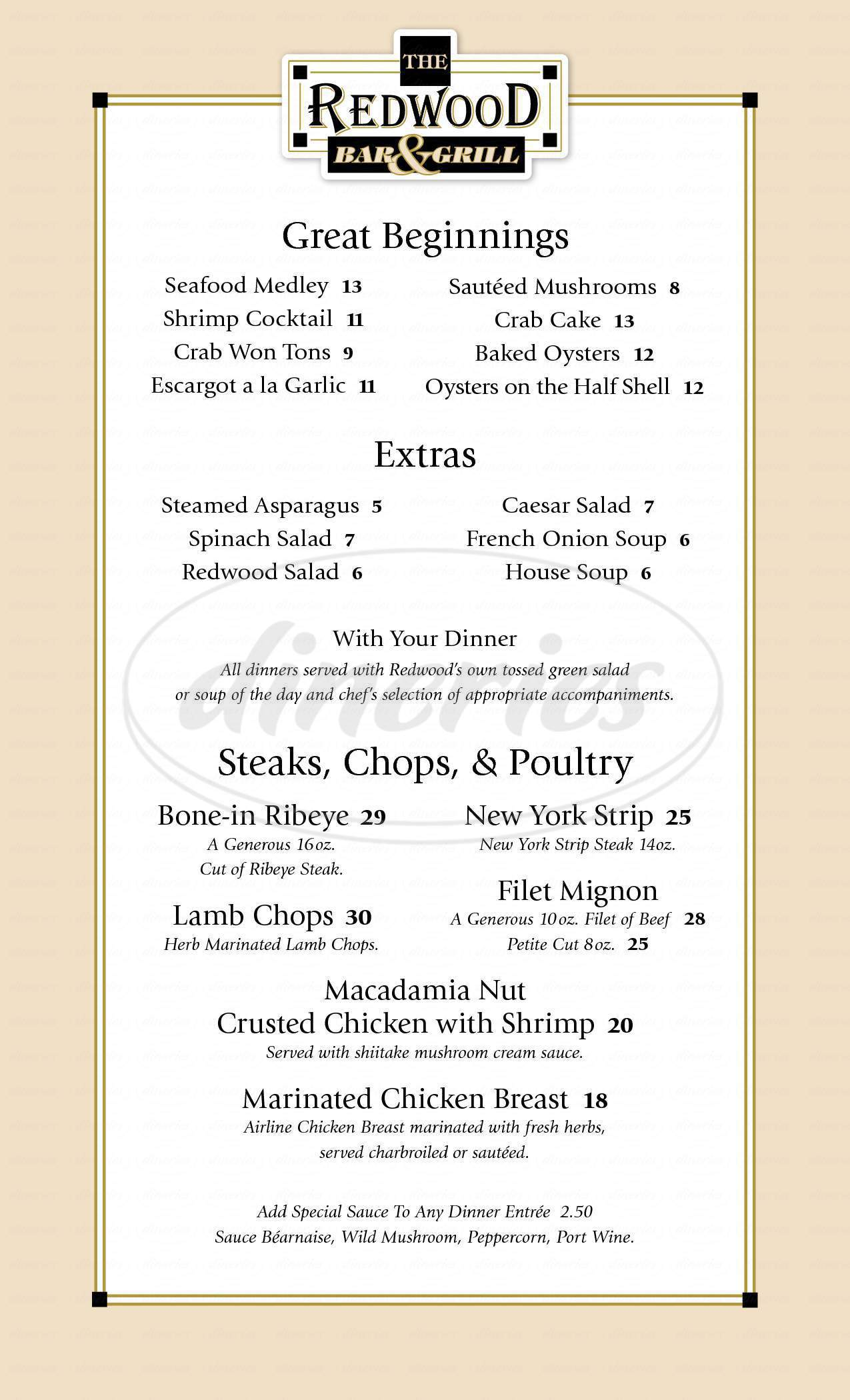 menu for Redwood Bar and Grill