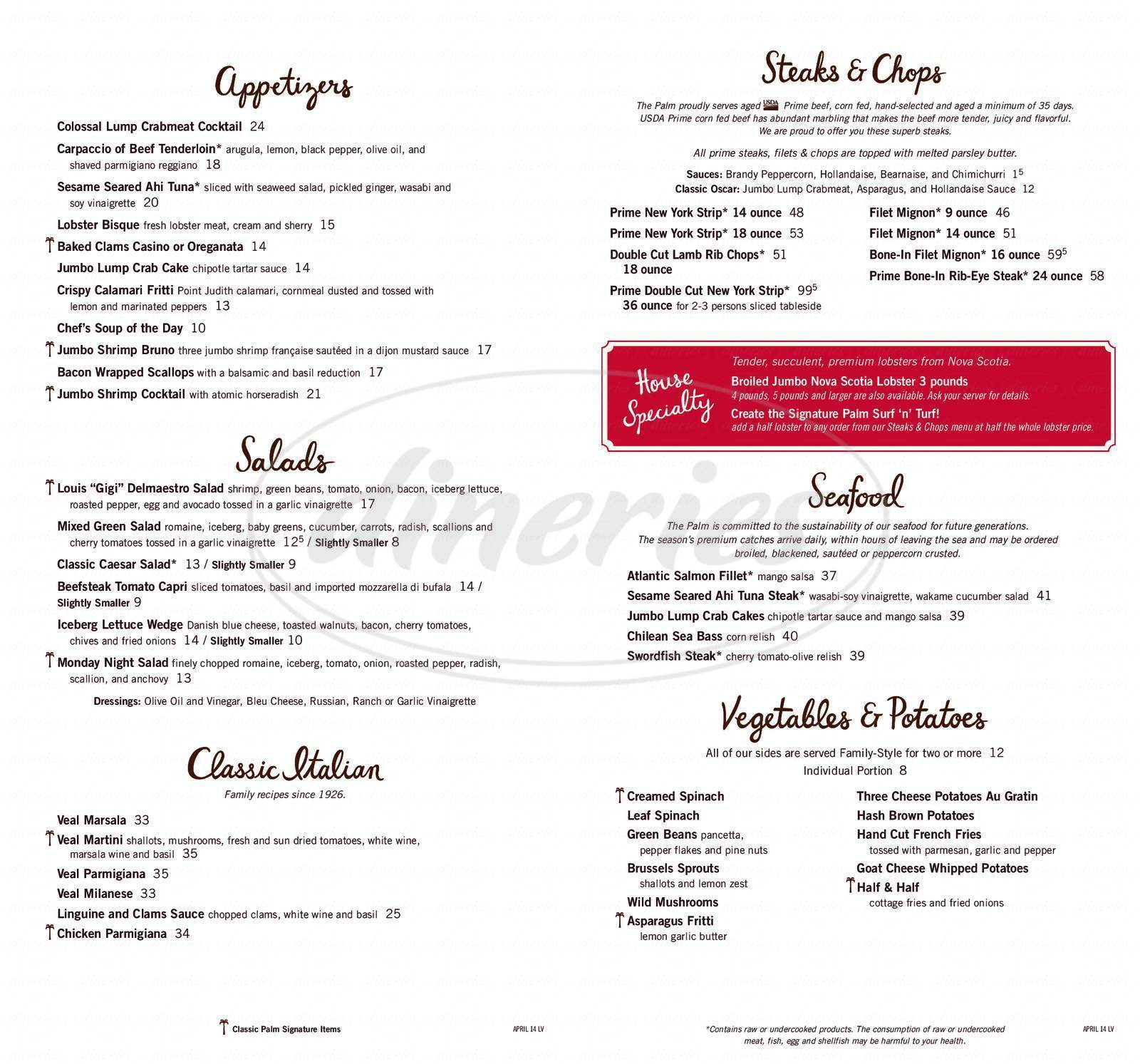 menu for Palm Restaurant