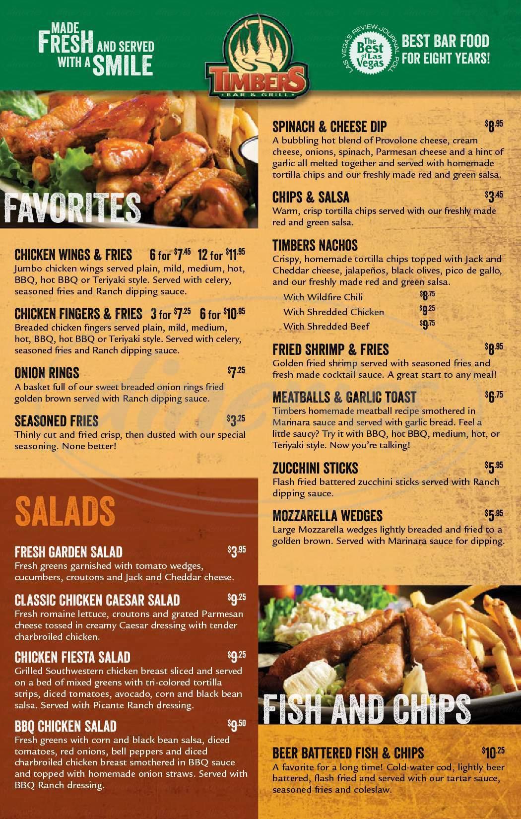 menu for Timbers - Lake Mead