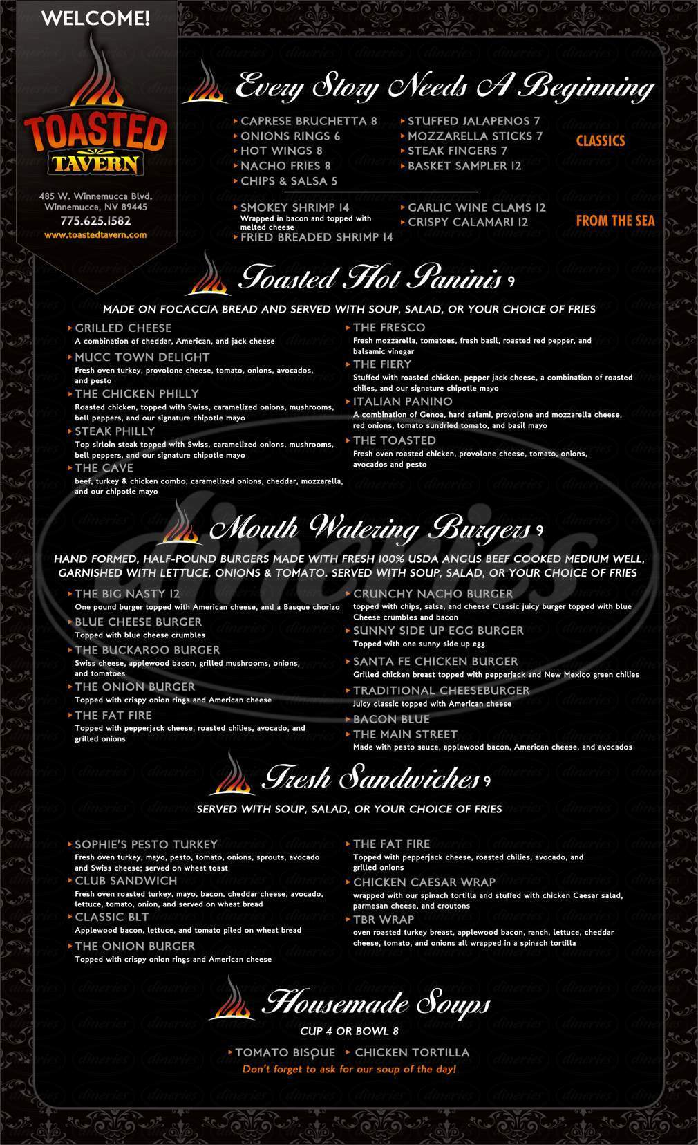 menu for Toasted Tavern