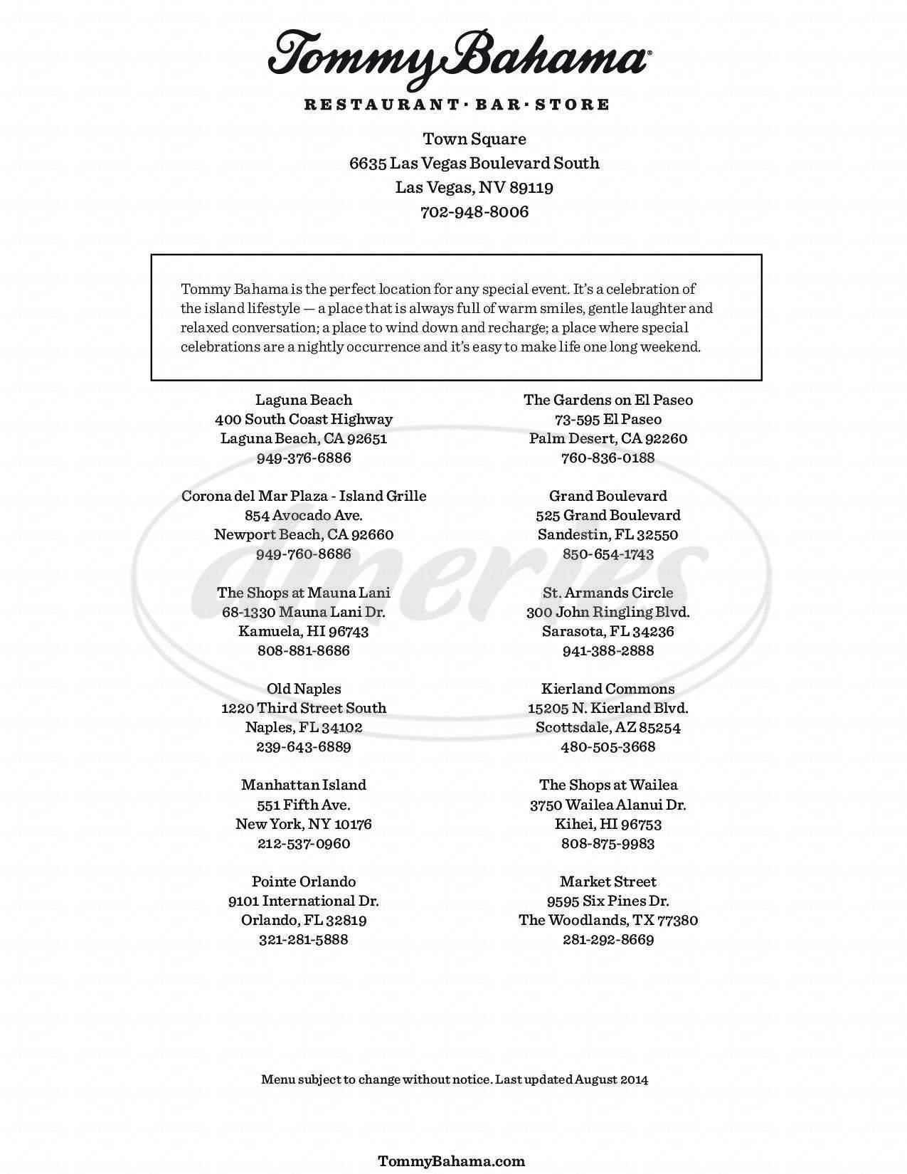 menu for Tommy Bahama Restaurant & Bar - Las Vegas