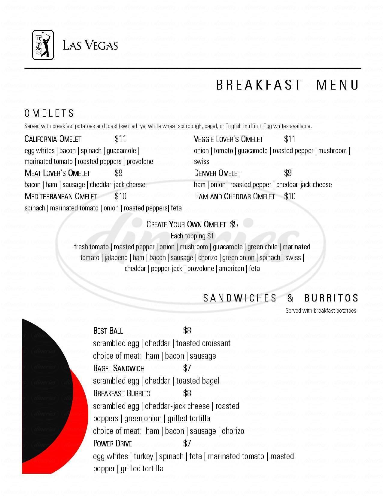 menu for TPC Grille