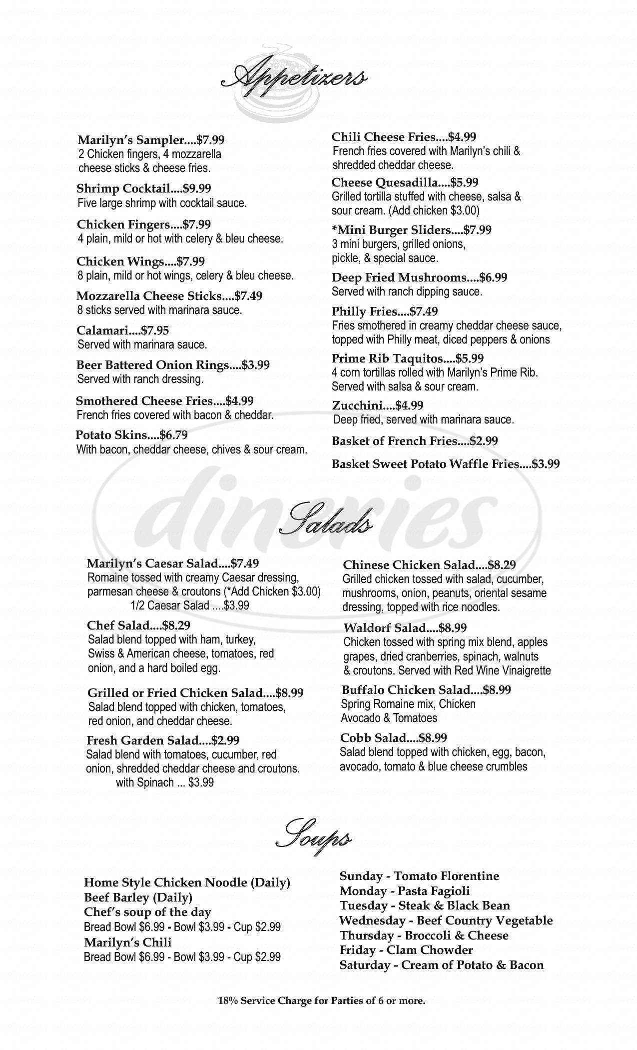 menu for Marilyn's Cafe
