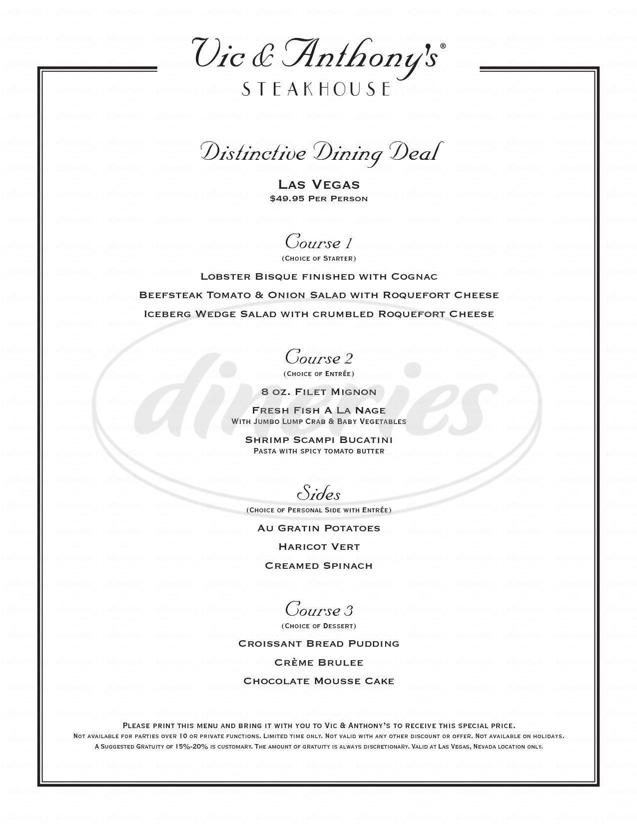 menu for Vic & Anthony's Steakhouse