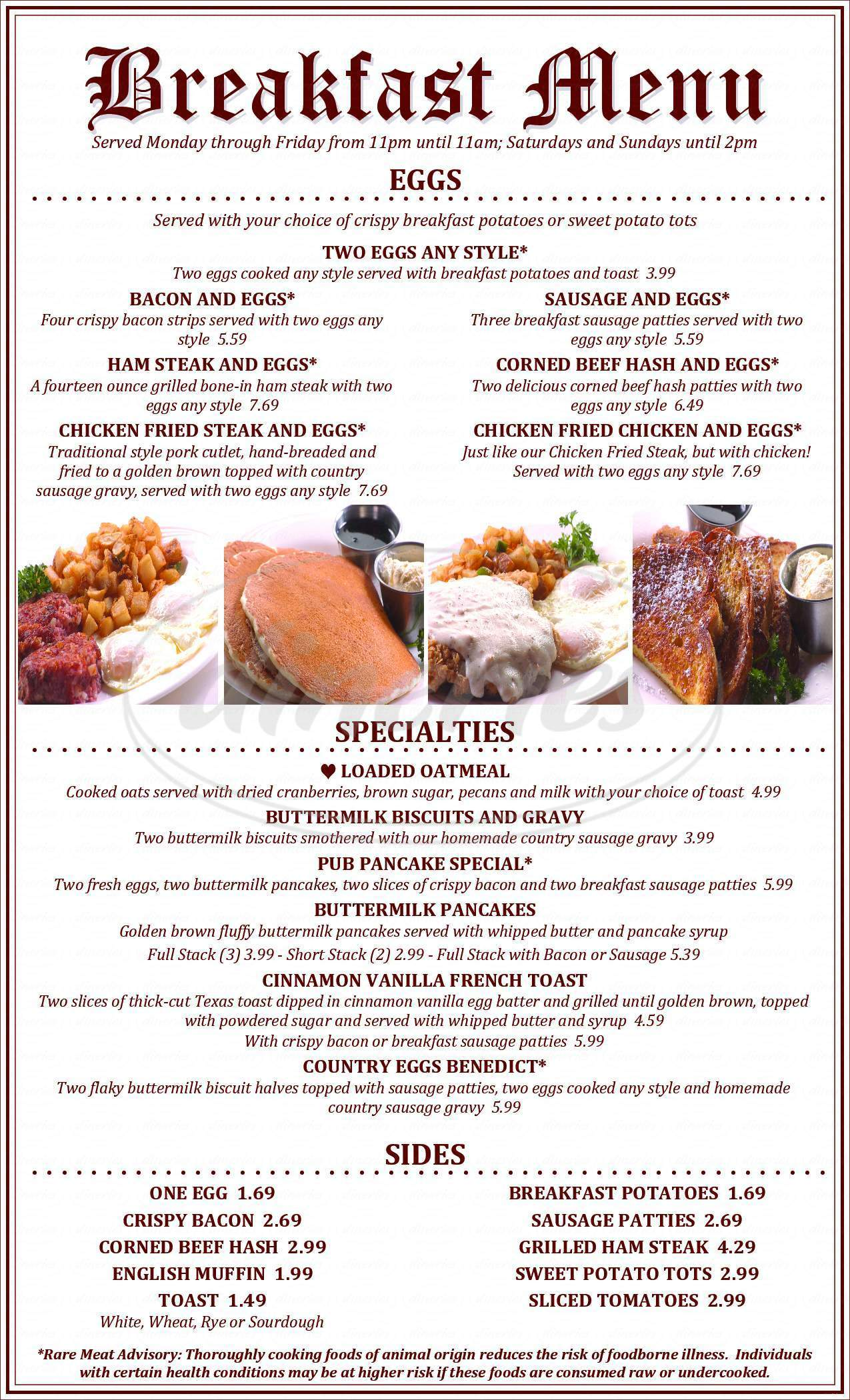 menu for Village Pub & Casino