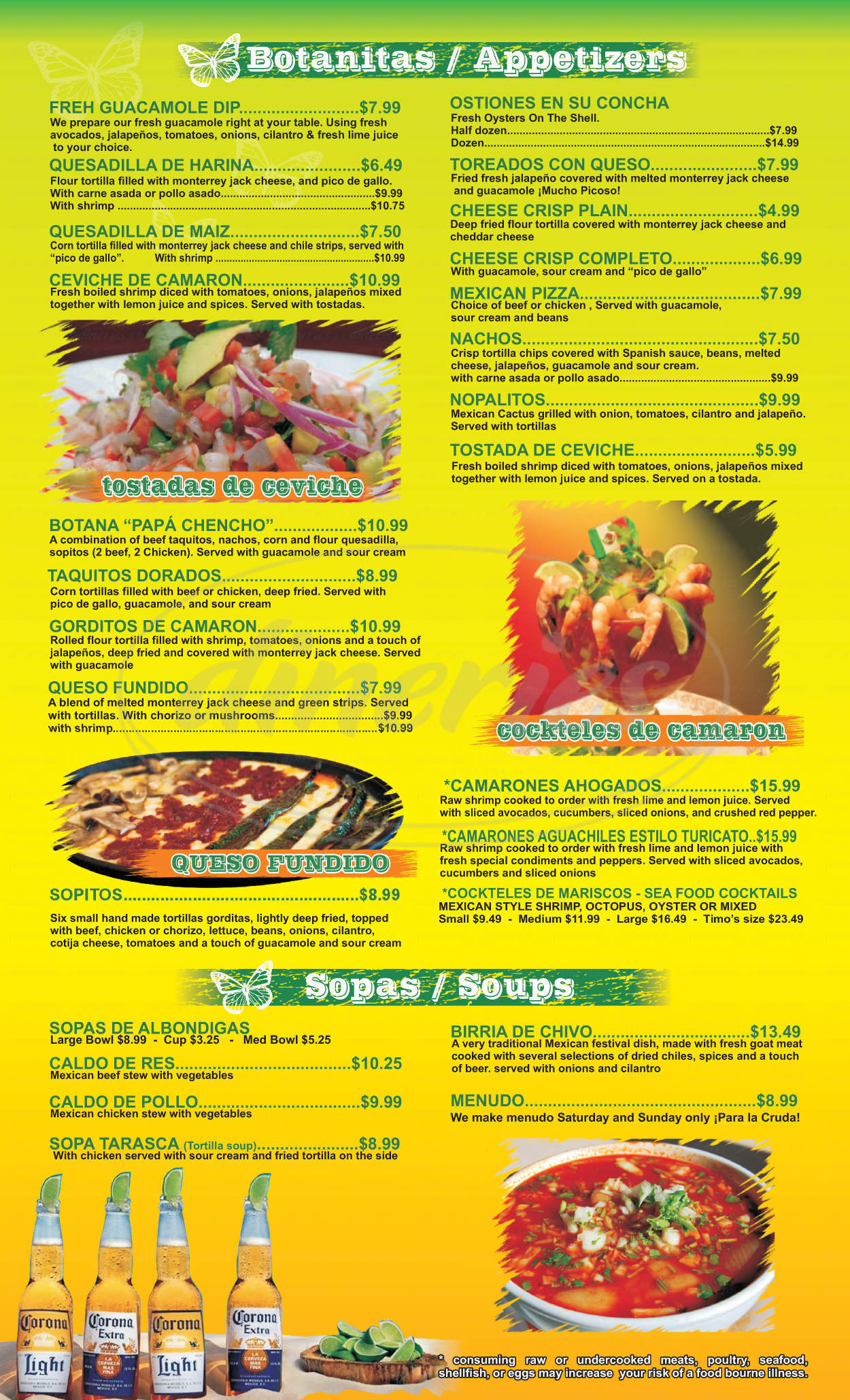 menu for Viva Michoacan
