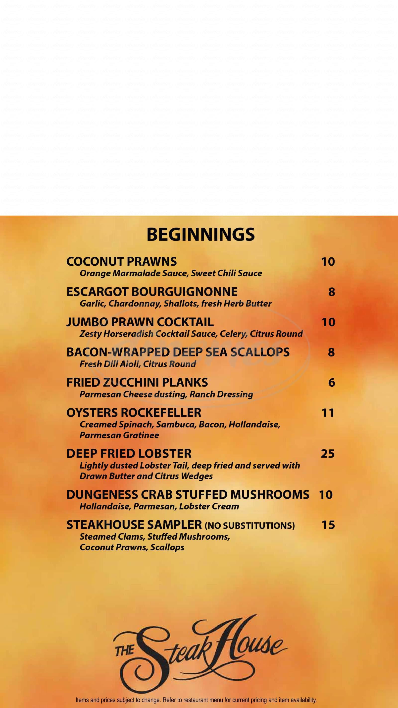 menu for Western Village Steakhouse