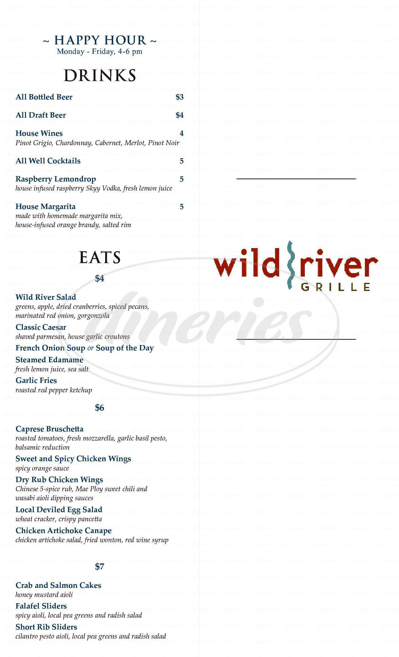 menu for Wild River Grille