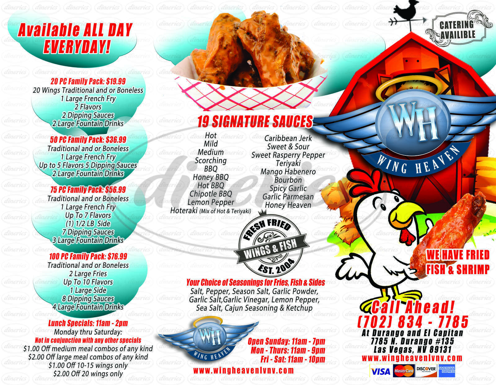 menu for Wing Heaven