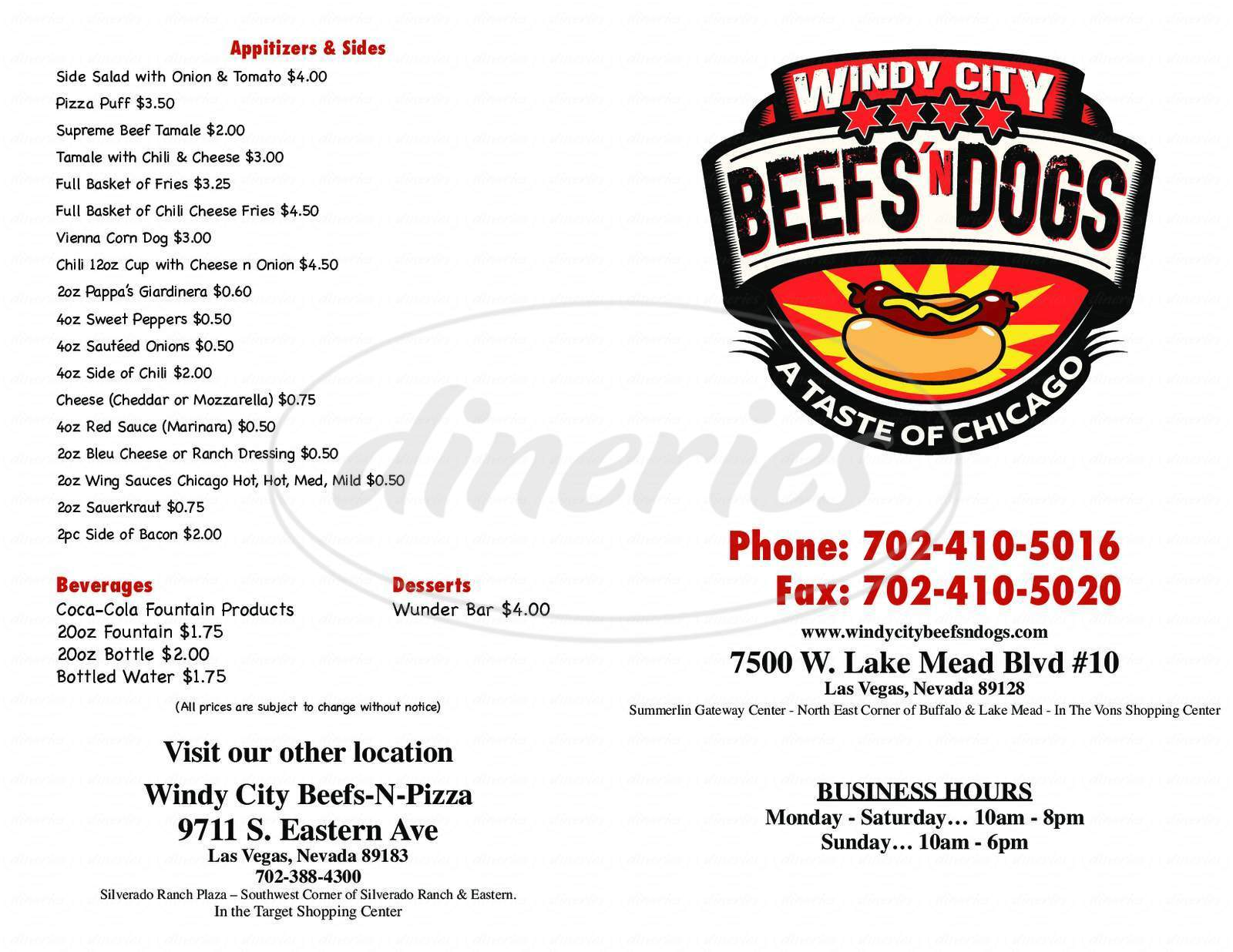 menu for Windy City Beefs-N-Dogs