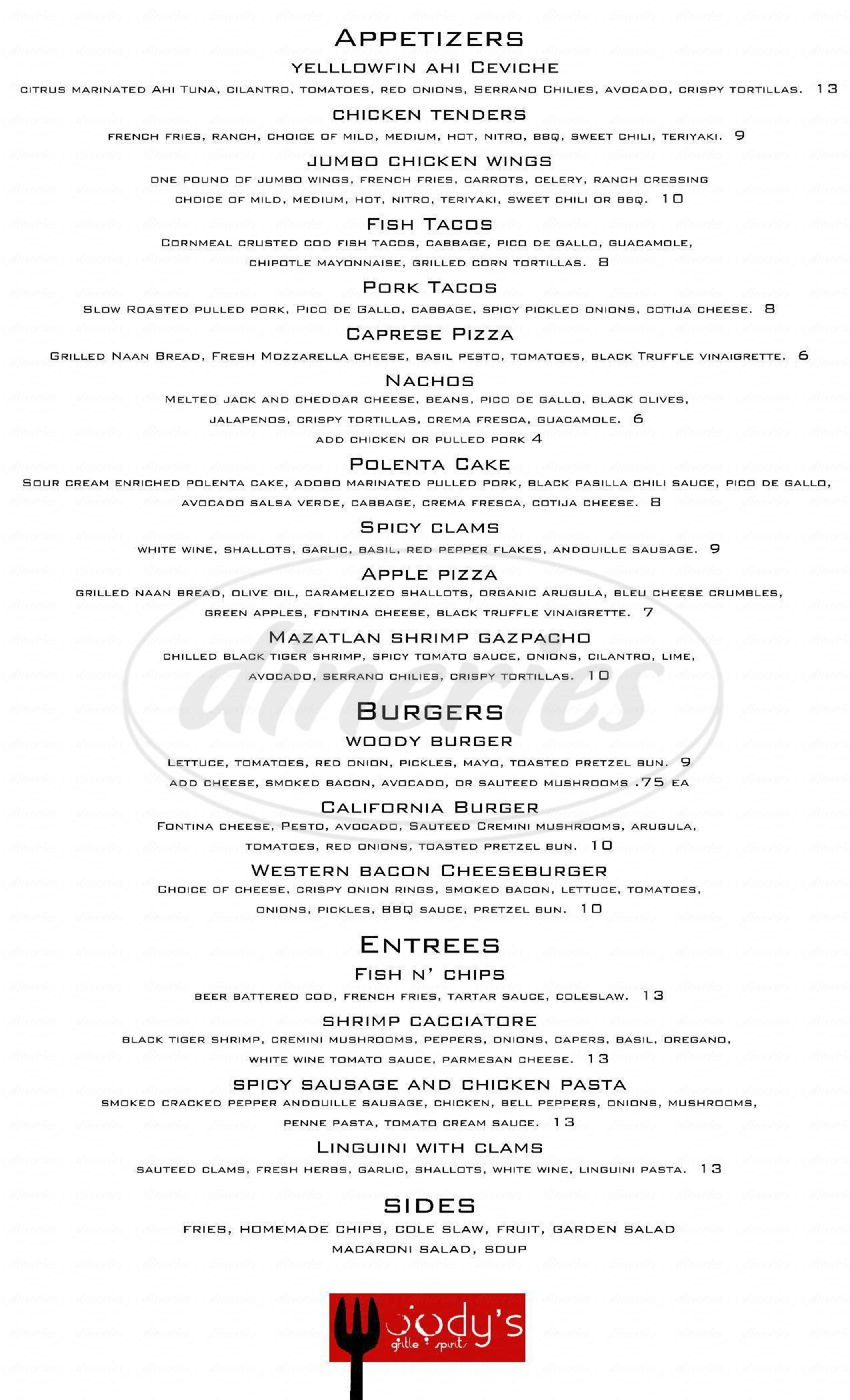 menu for Woody's Grille & Spirits