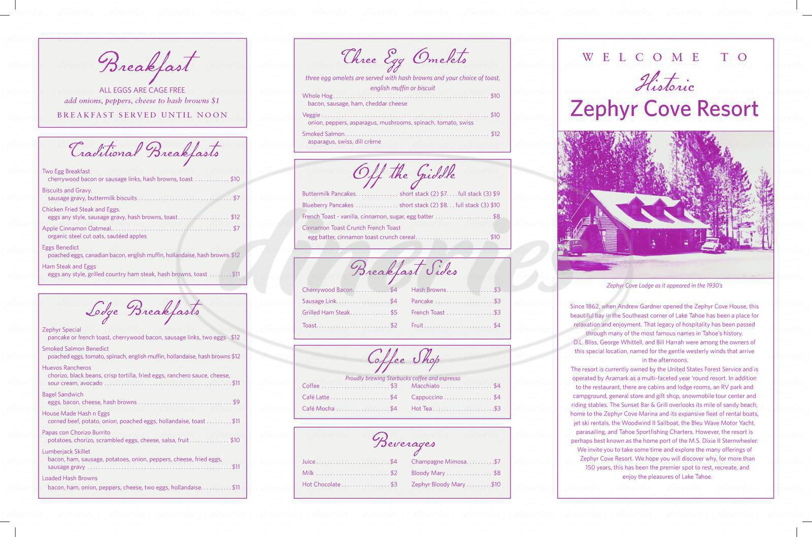 menu for Zephyr Cove Lodge Restaurant