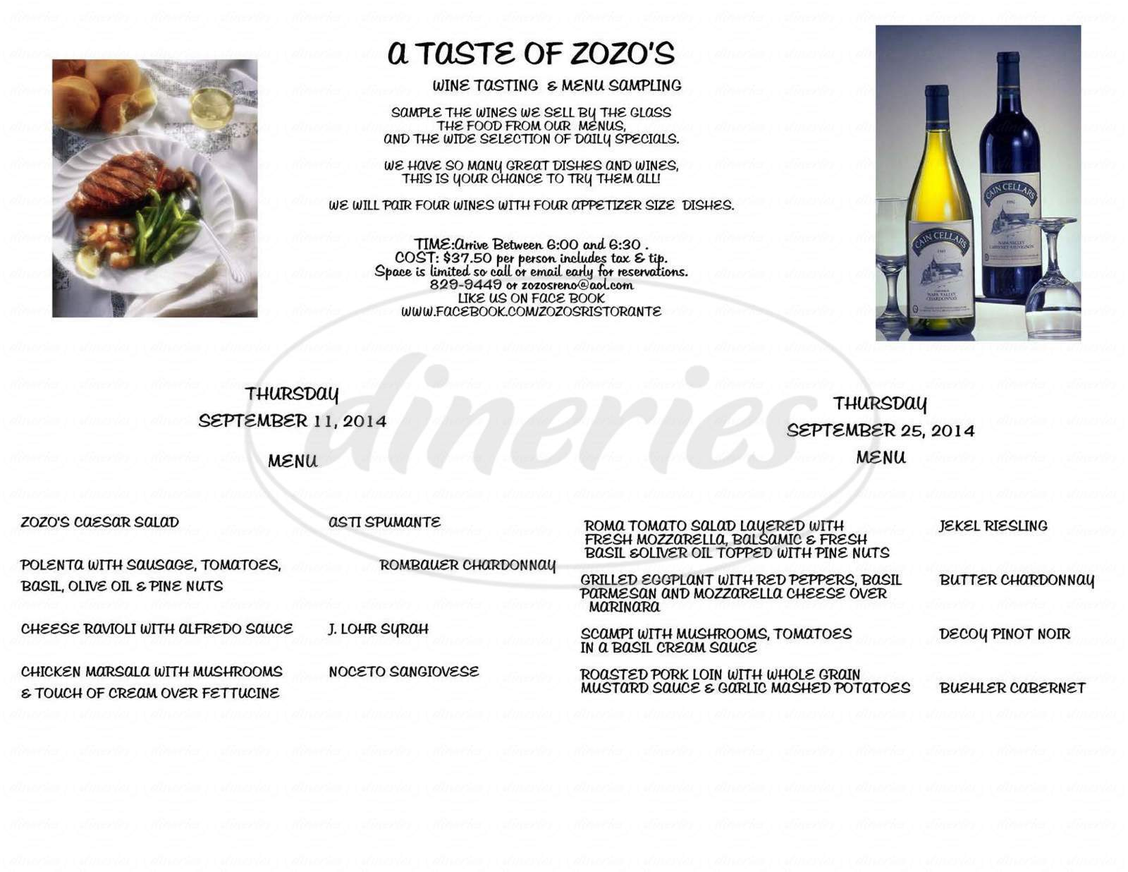 menu for Zozo's Ristorante