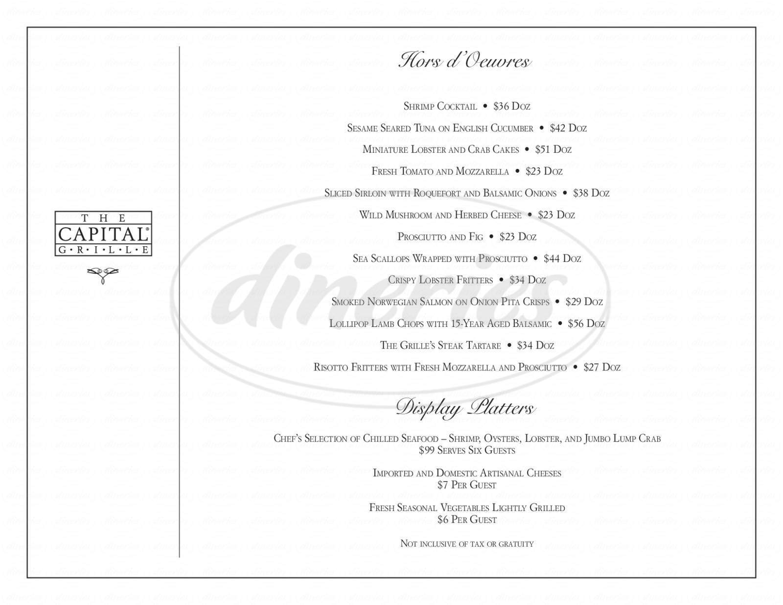 menu for The Capital Grille