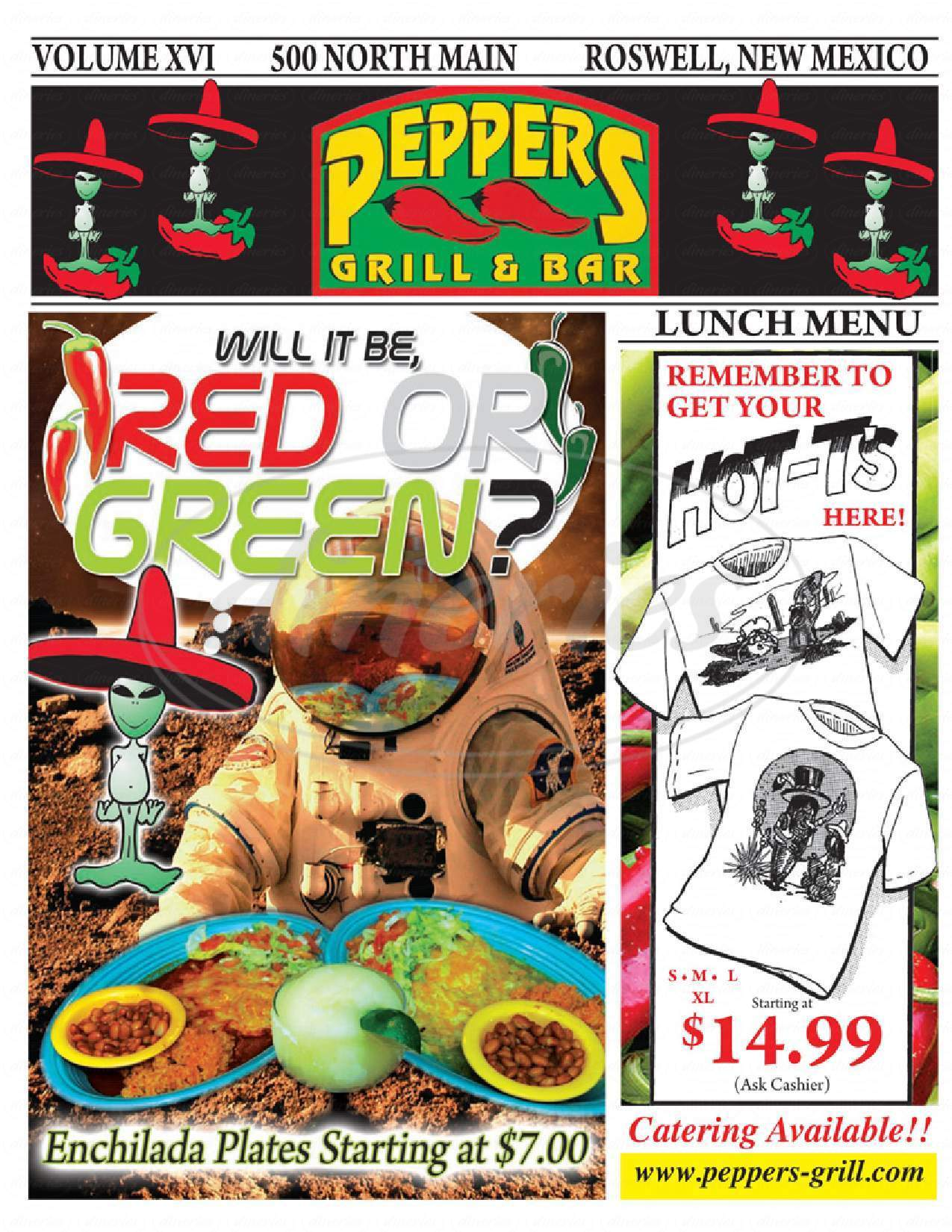 menu for Peppers Grill & Bar