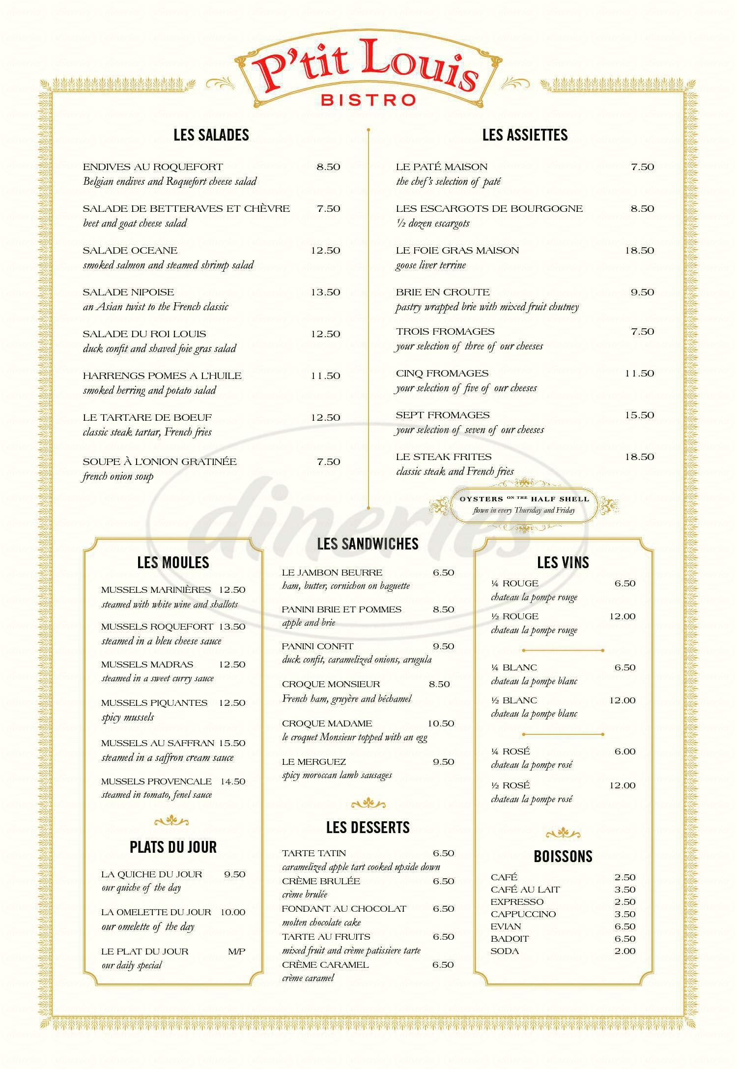 menu for P'tit Louis Bistro Nob Hill