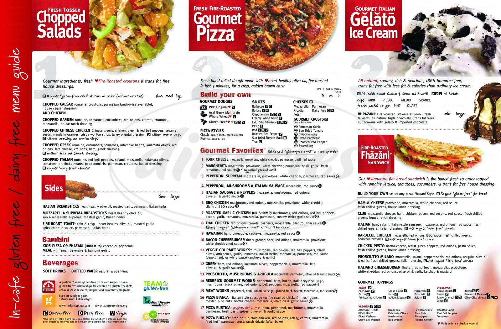 menu for Red Brick Pizza