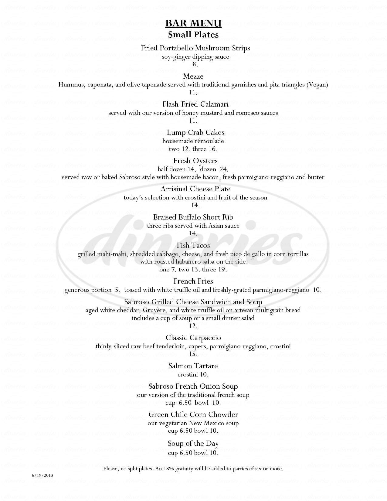 menu for Sabroso Restaurant and Bar