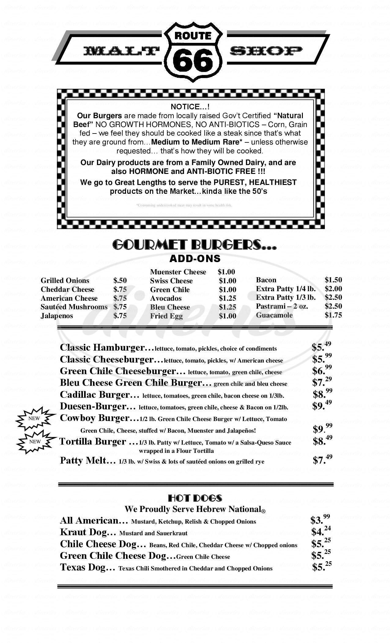 menu for Route 66 Malt Shop & Grill