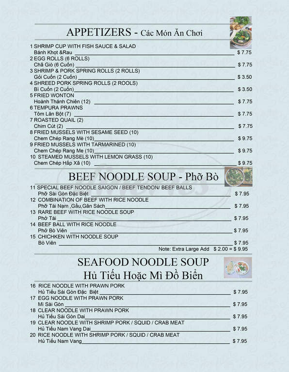 menu for Saigon Restaurant