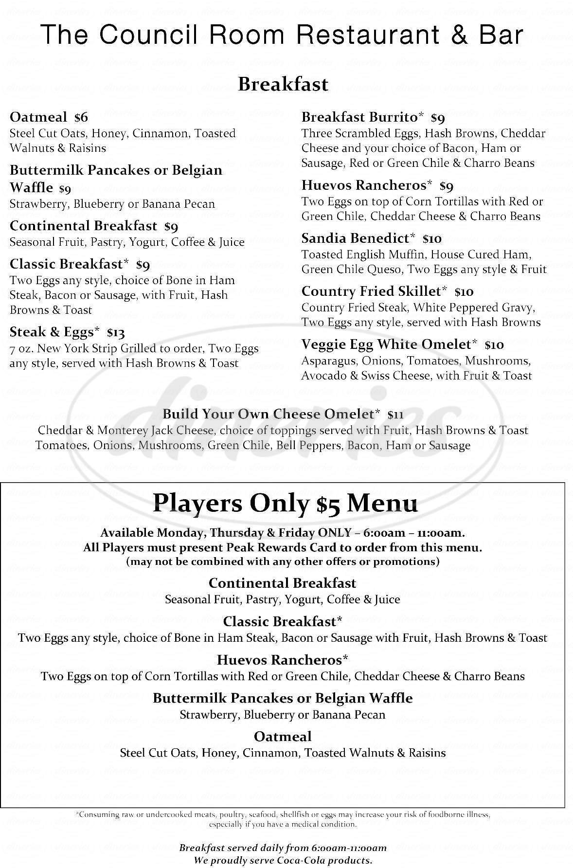 menu for The Council Room