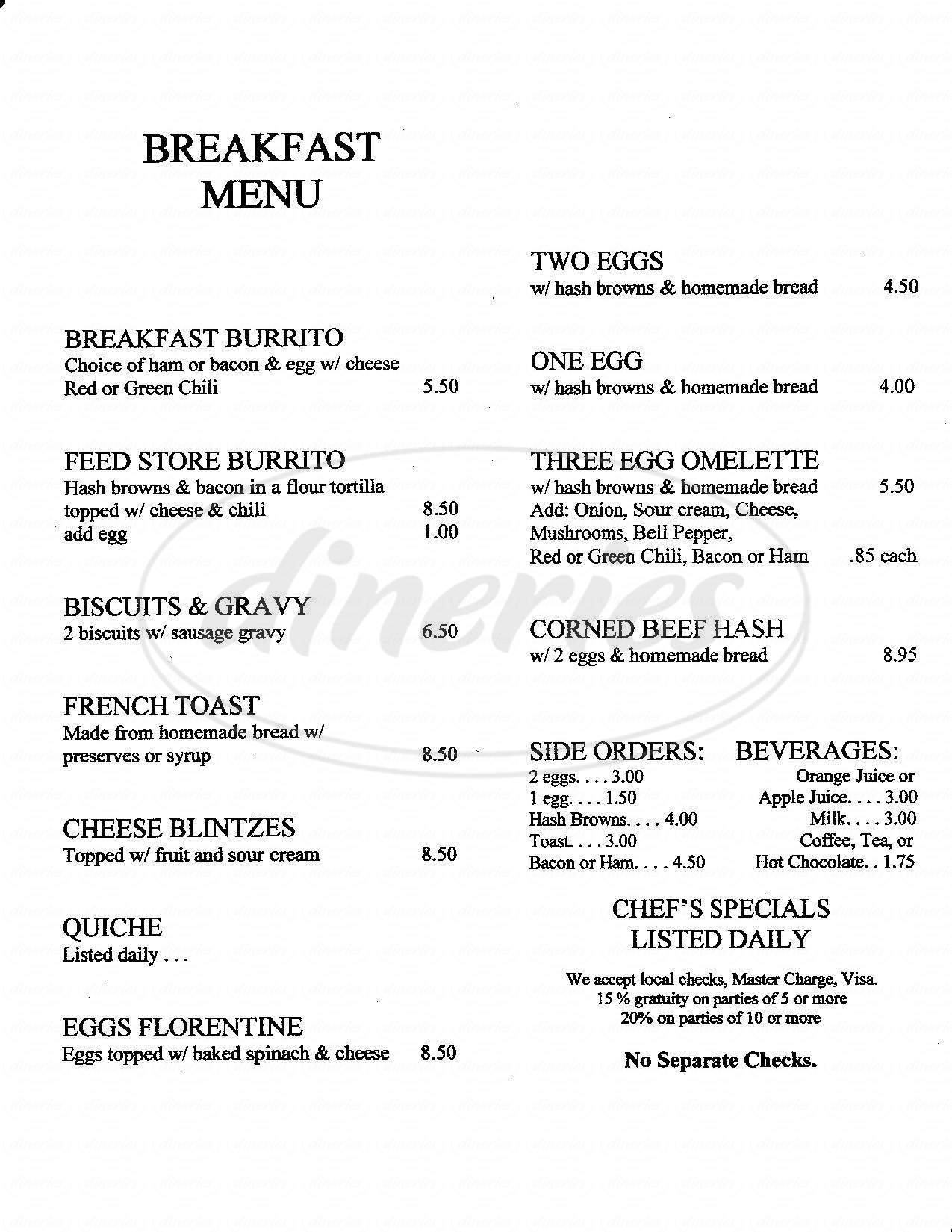 menu for San Marcos Feed Store