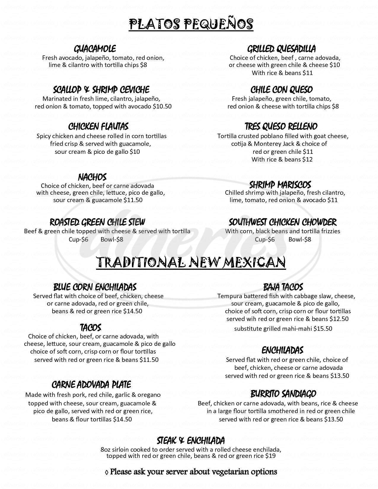 menu for Sandiago's Mexican Grill