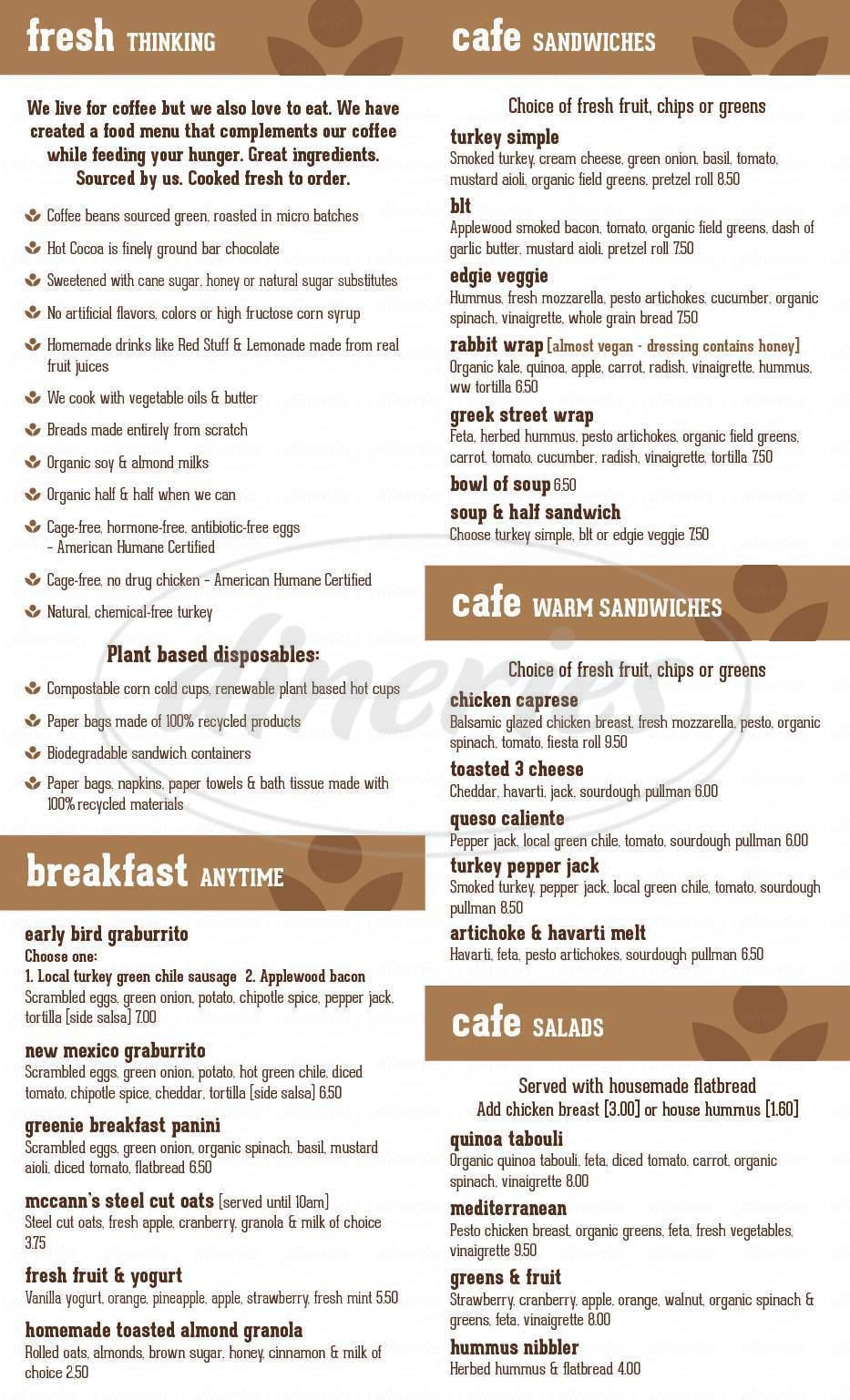 menu for Satellite Coffee