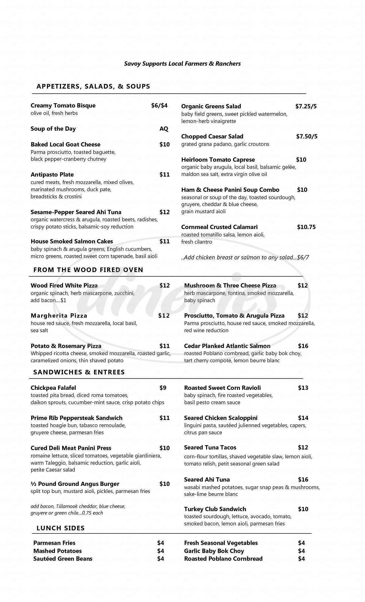 menu for Savoy Wine Bar & Grill