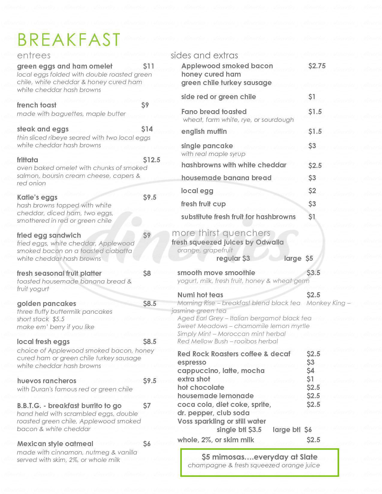 menu for Slate Street Cafe