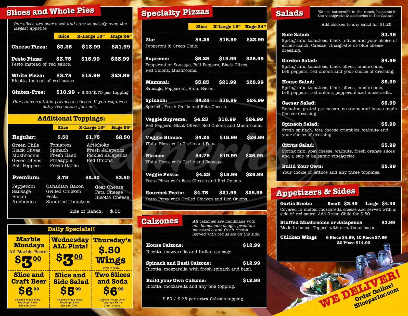 menu for Slice Parlor