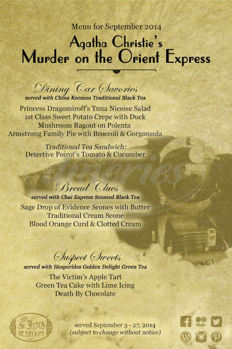 menu for St. James Tearoom