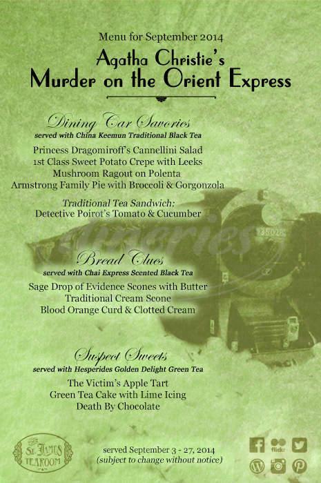 menu for St. James Tearoom