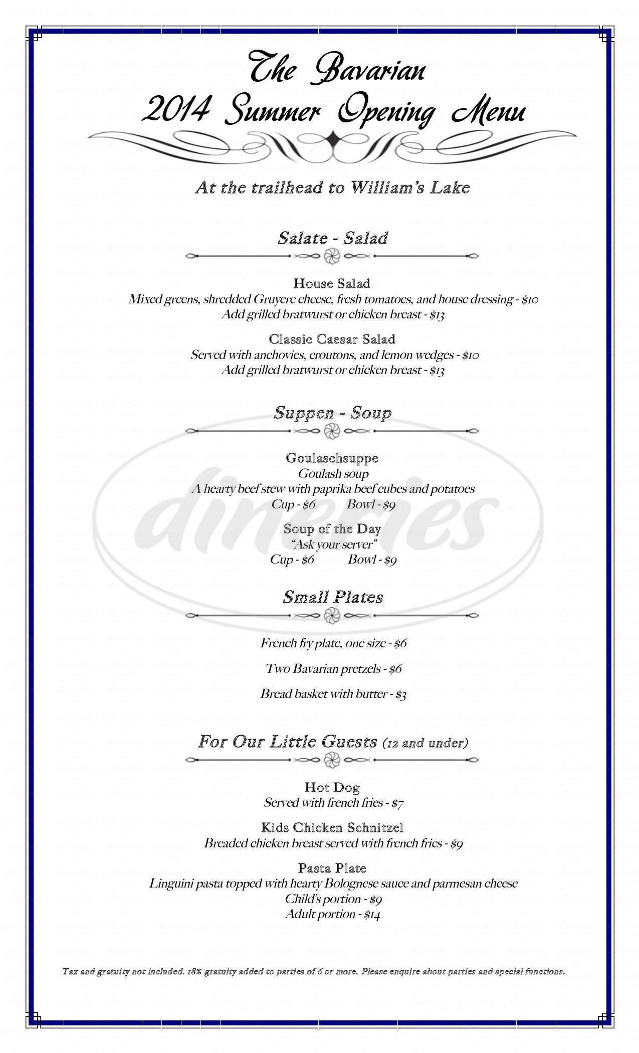 menu for The Bavarian Lodge & Restaurant