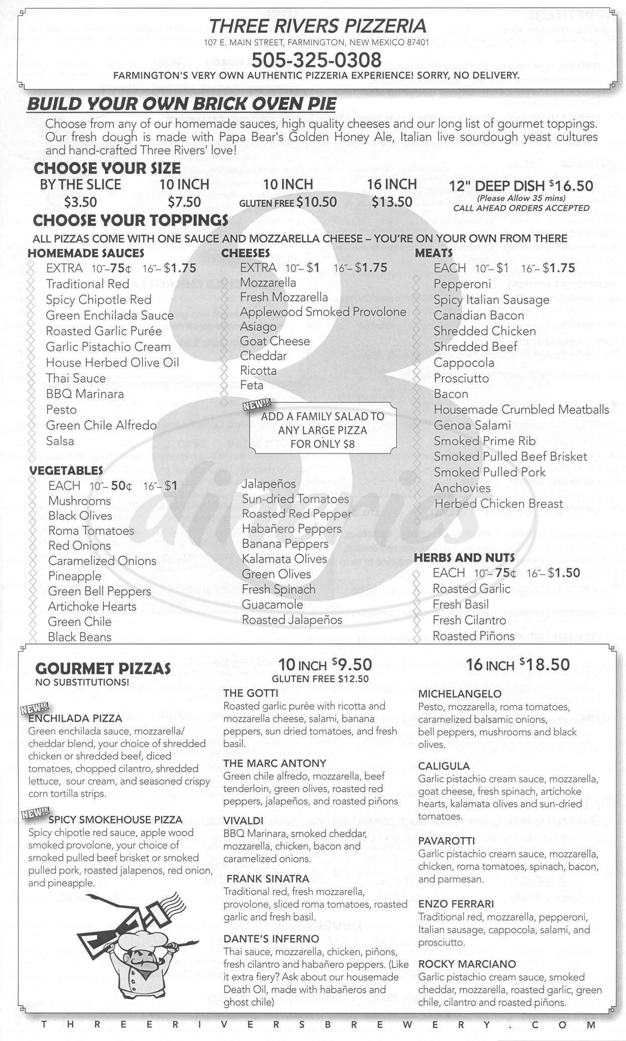 menu for Three Rivers Pizzeria