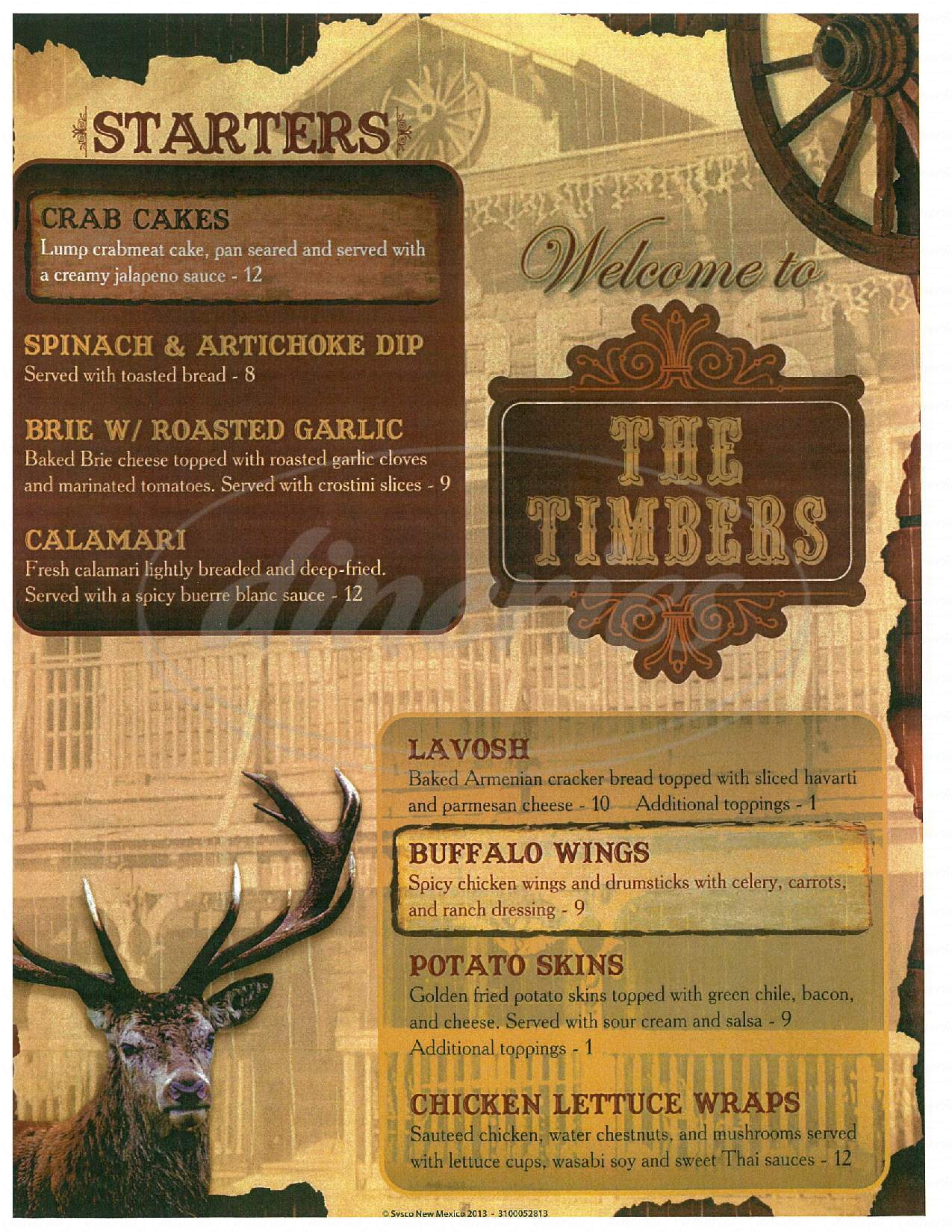 menu for Timbers Steakhouse