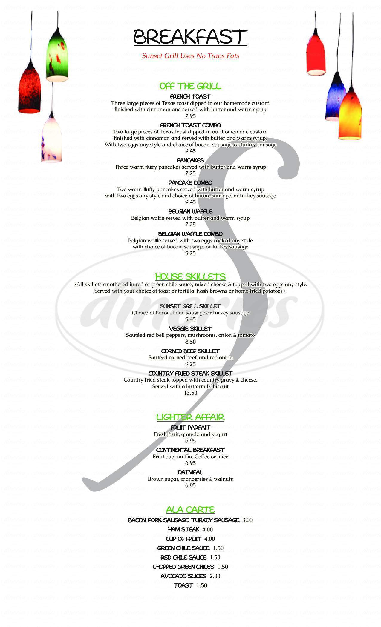 menu for Sunset Grill