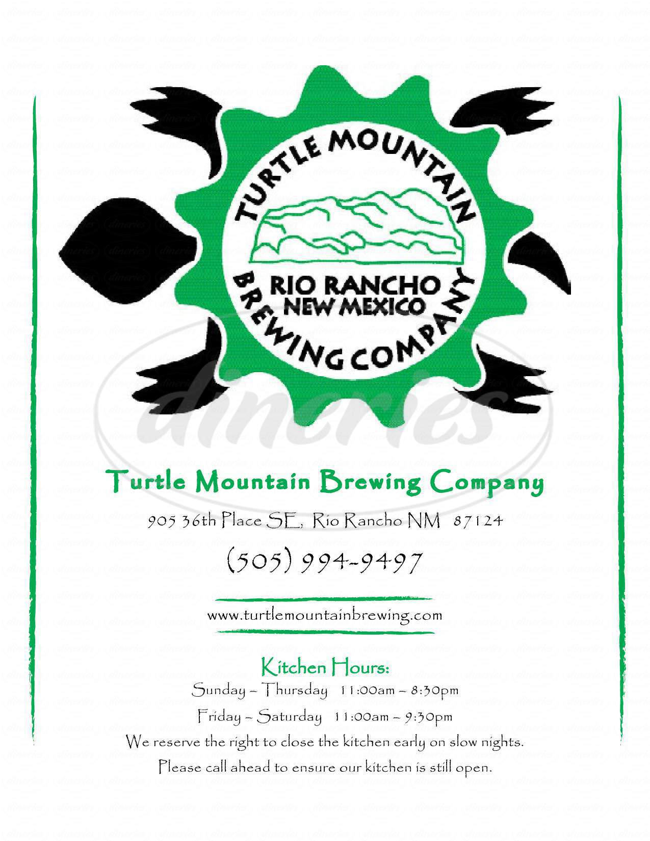 menu for Turtle Mountain Brewing Co