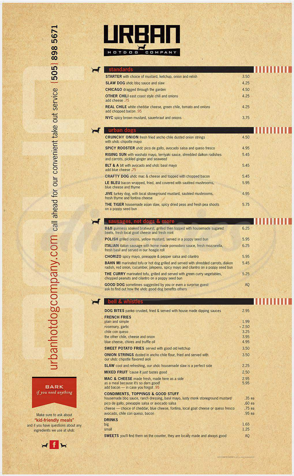 menu for Urban Hotdog Company