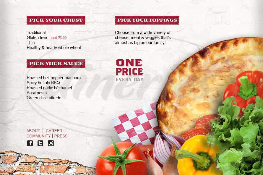 menu for WisePies Pizza
