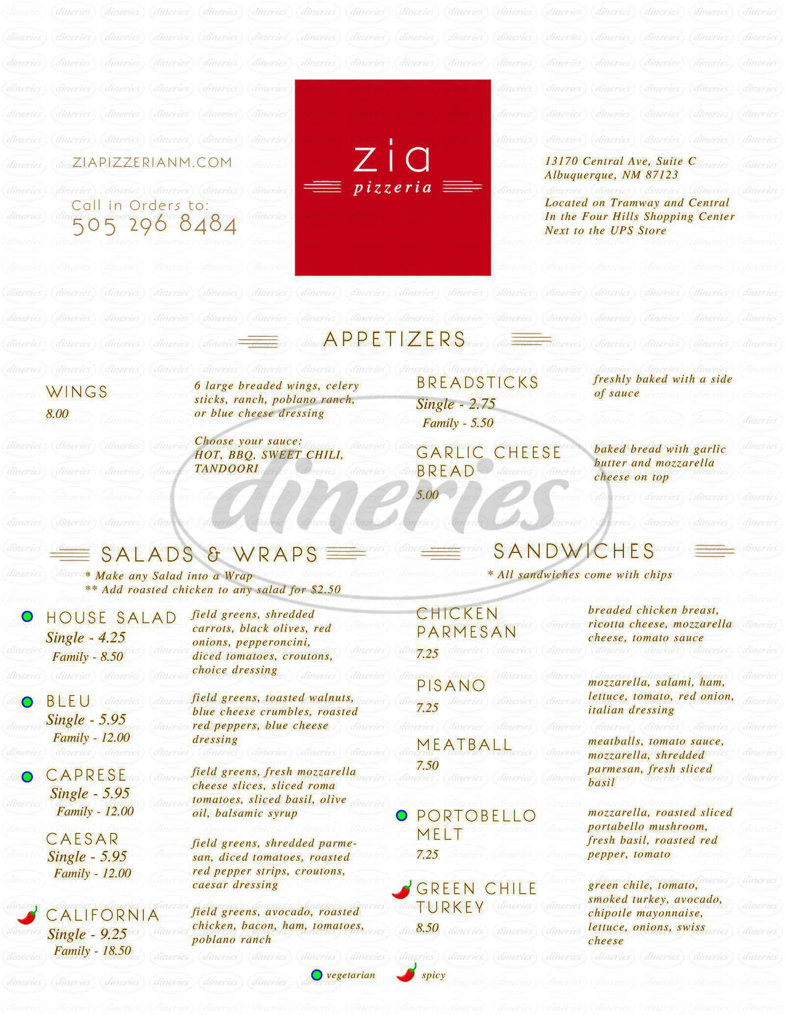 menu for Zia Pizzeria