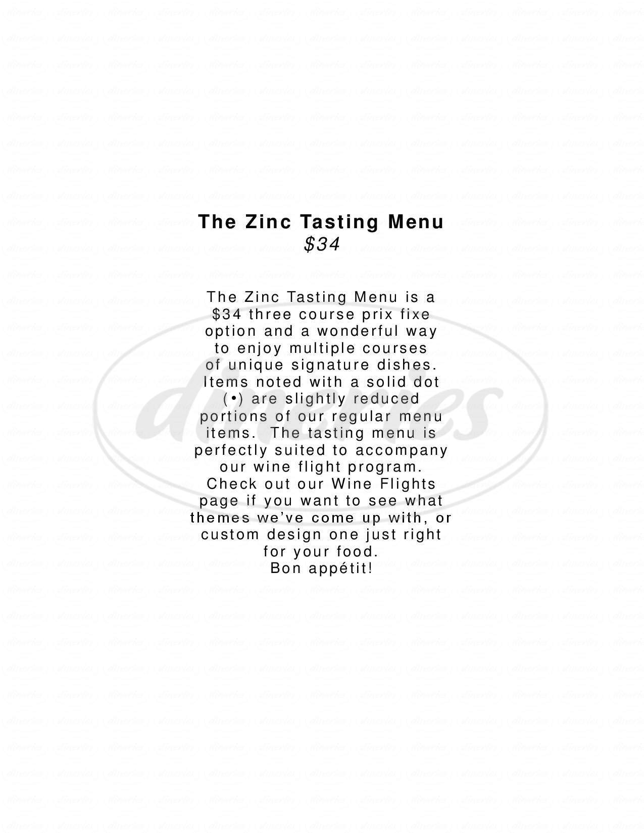 menu for Zinc Wine Bar & Bistro