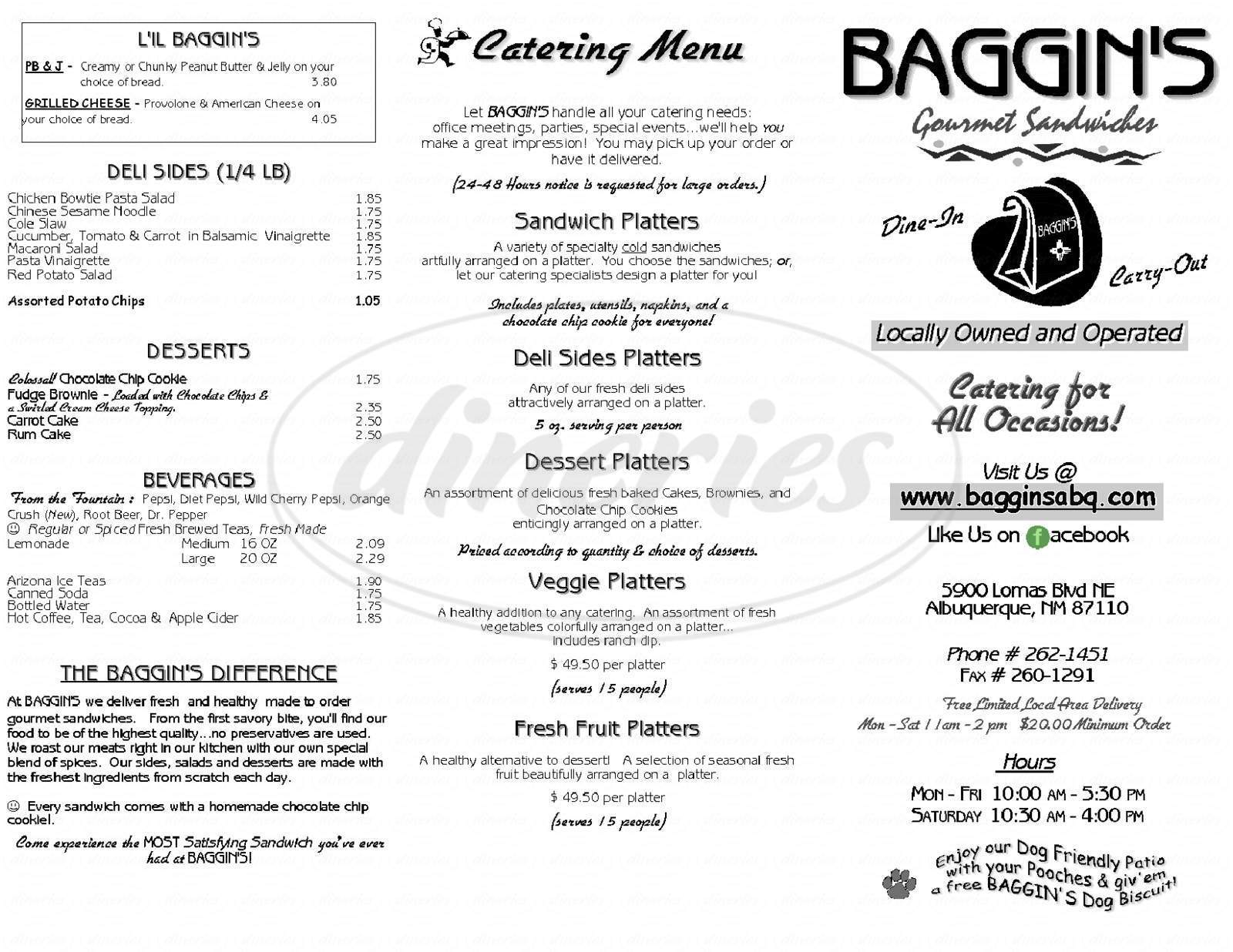 menu for Baggin's