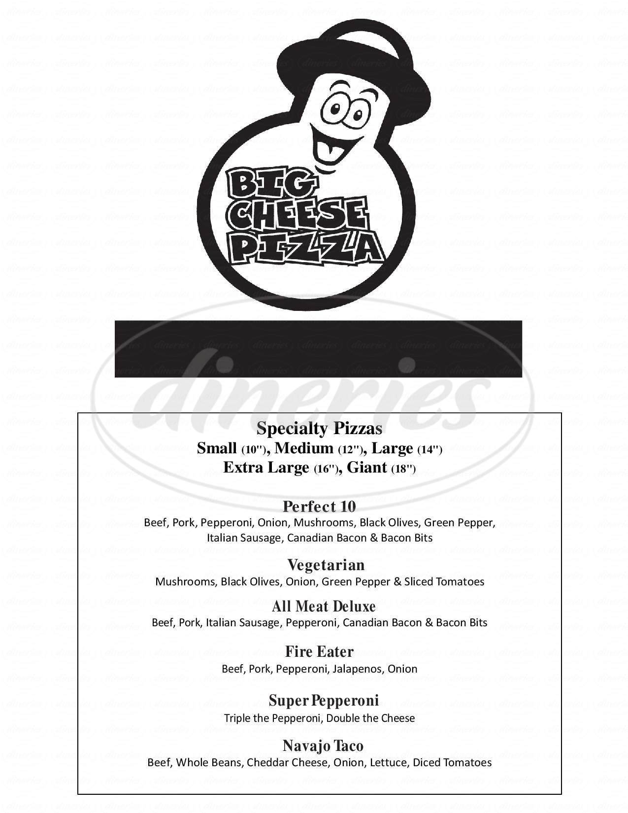 menu for Big Cheese Pizza