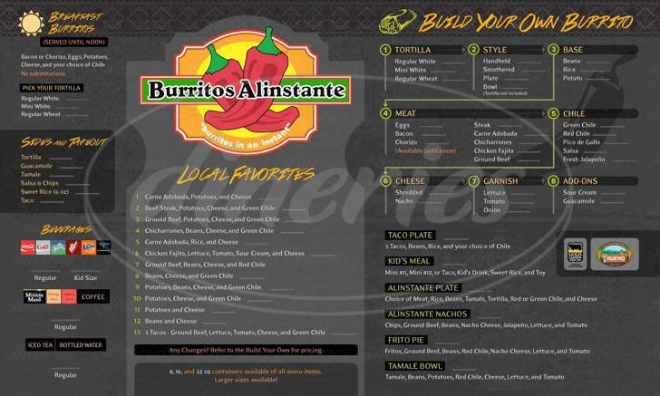 menu for Burritos Alinstante