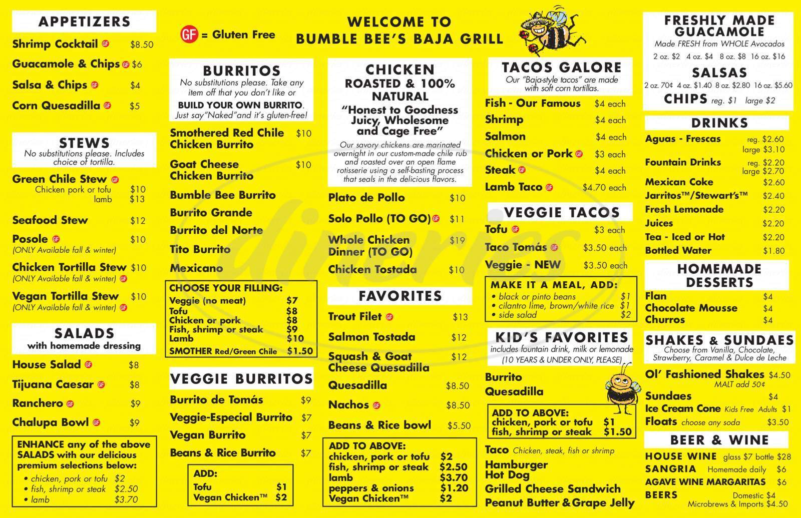 menu for Bumble Bee's Baja Grill