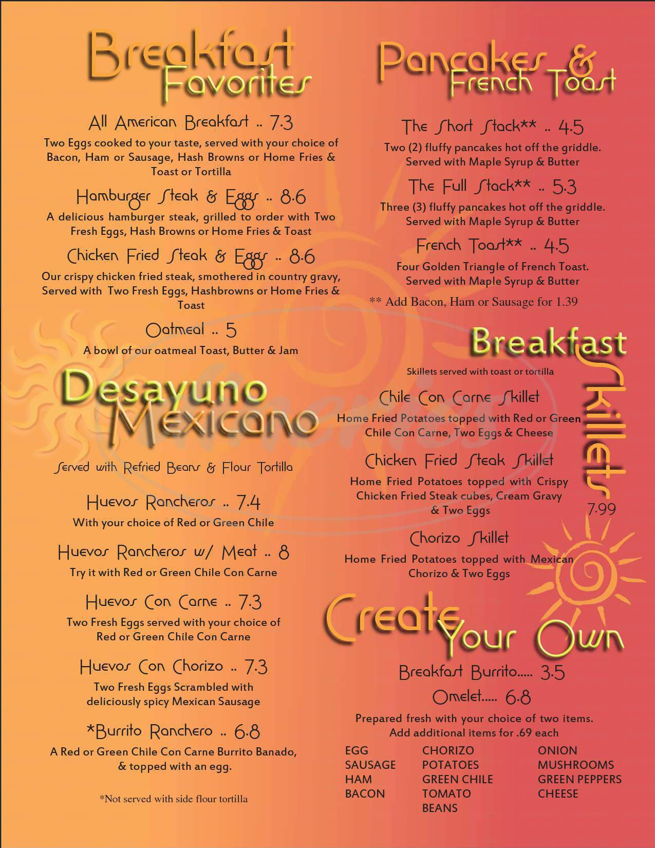 menu for Chilitos Restaurant