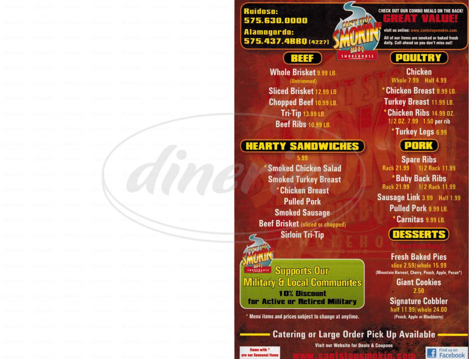 menu for Can't Stop Smokin' BBQ