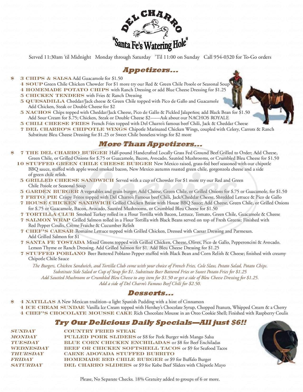 menu for Del Charro Saloon