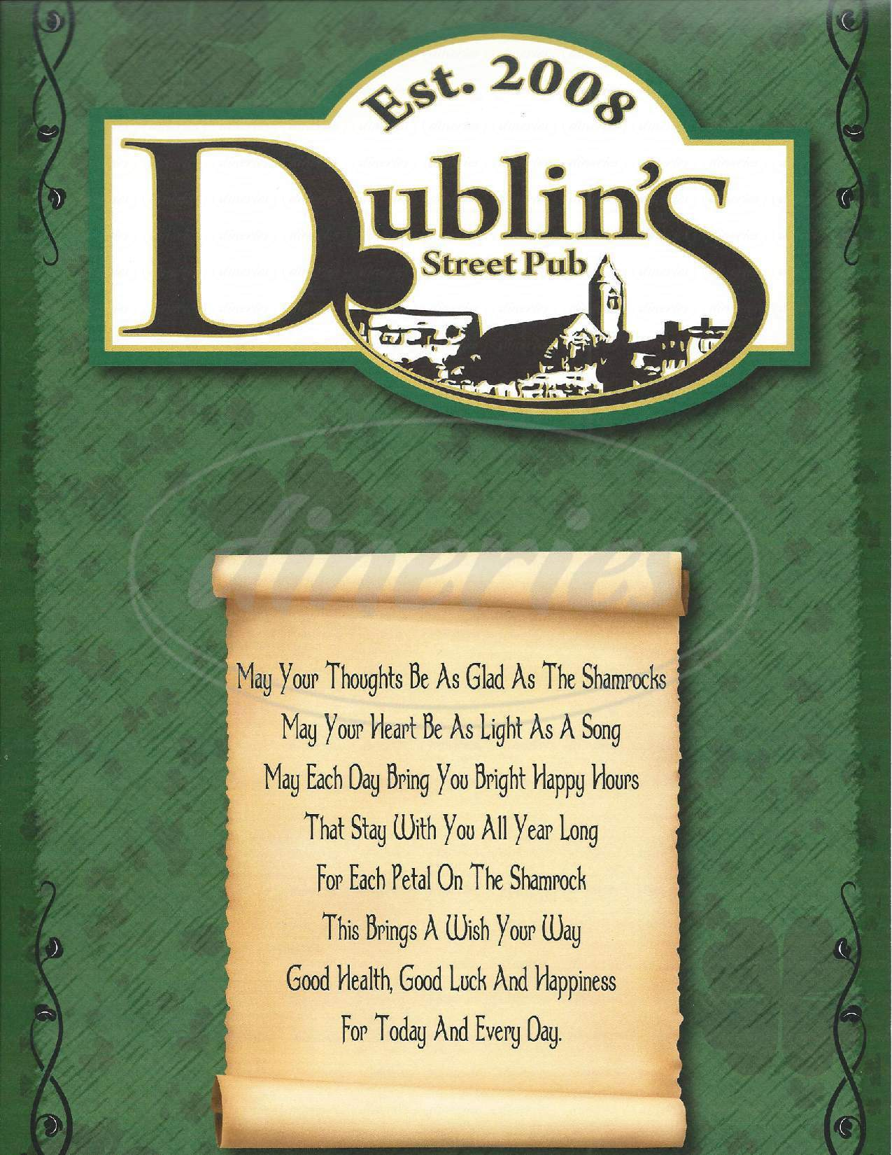 menu for Dublin's Street Pub